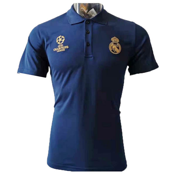 Camiseta polo UCL azul de Real Madrid baratas 2019-20