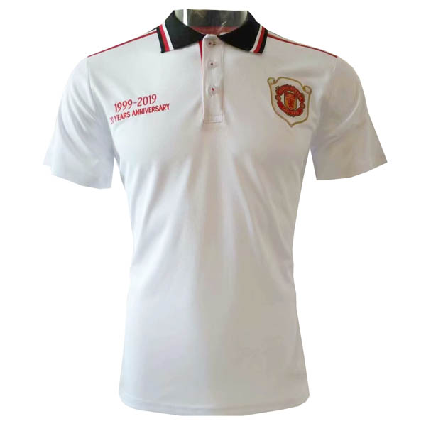 Camisetas polo del Manchester United blanco 1999-2019